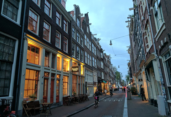 Amsterdam street in the evening, The Netherlands