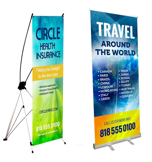 X frame banner and window shade retractable banner